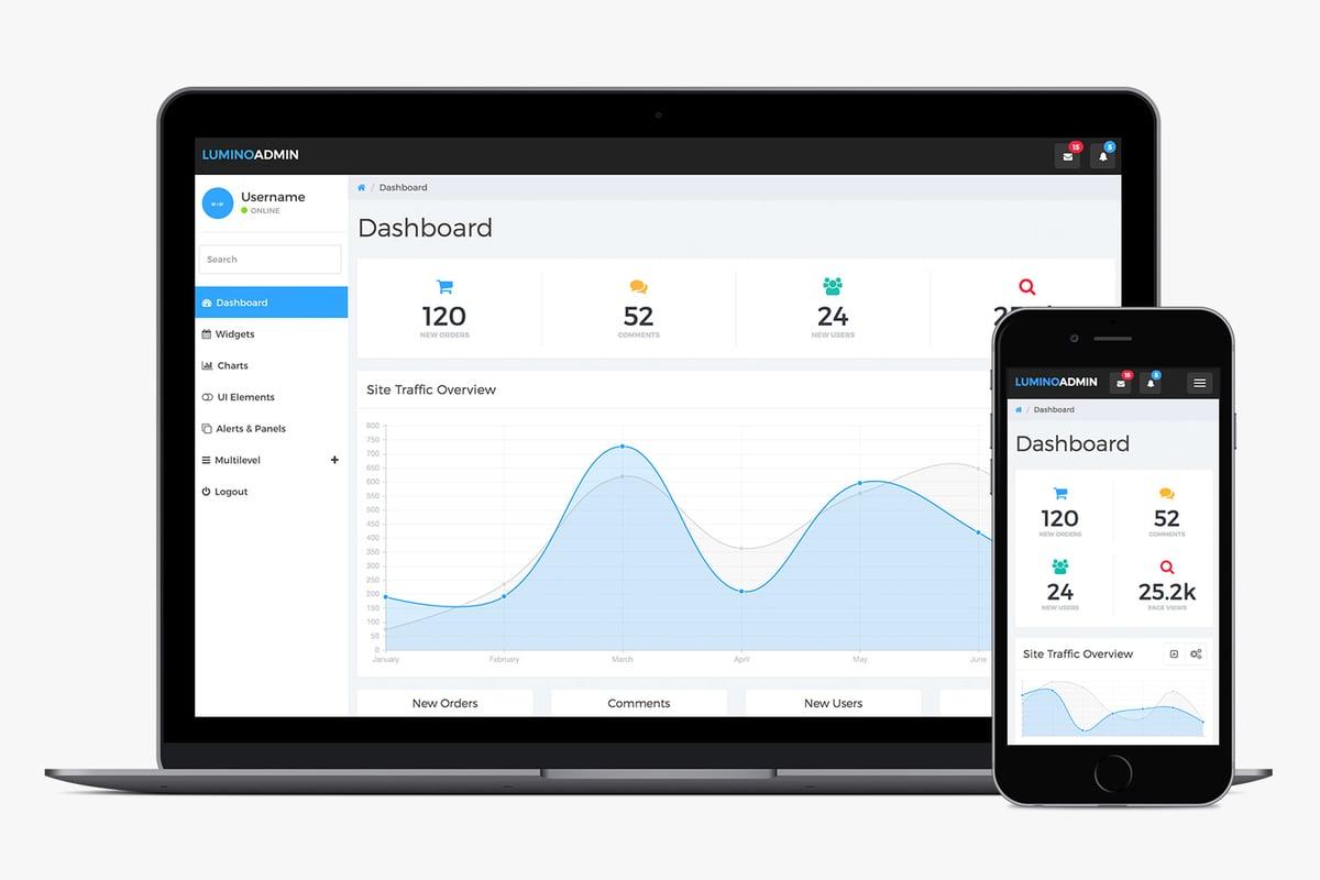 Lumino: Free Bootstrap Admin Template — Medialoot