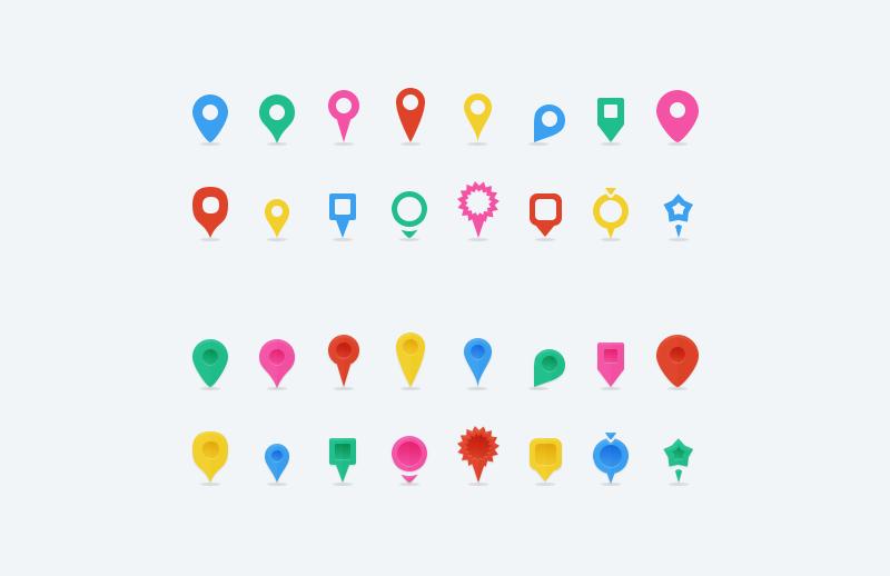 free vector map location pins medialoot. Black Bedroom Furniture Sets. Home Design Ideas