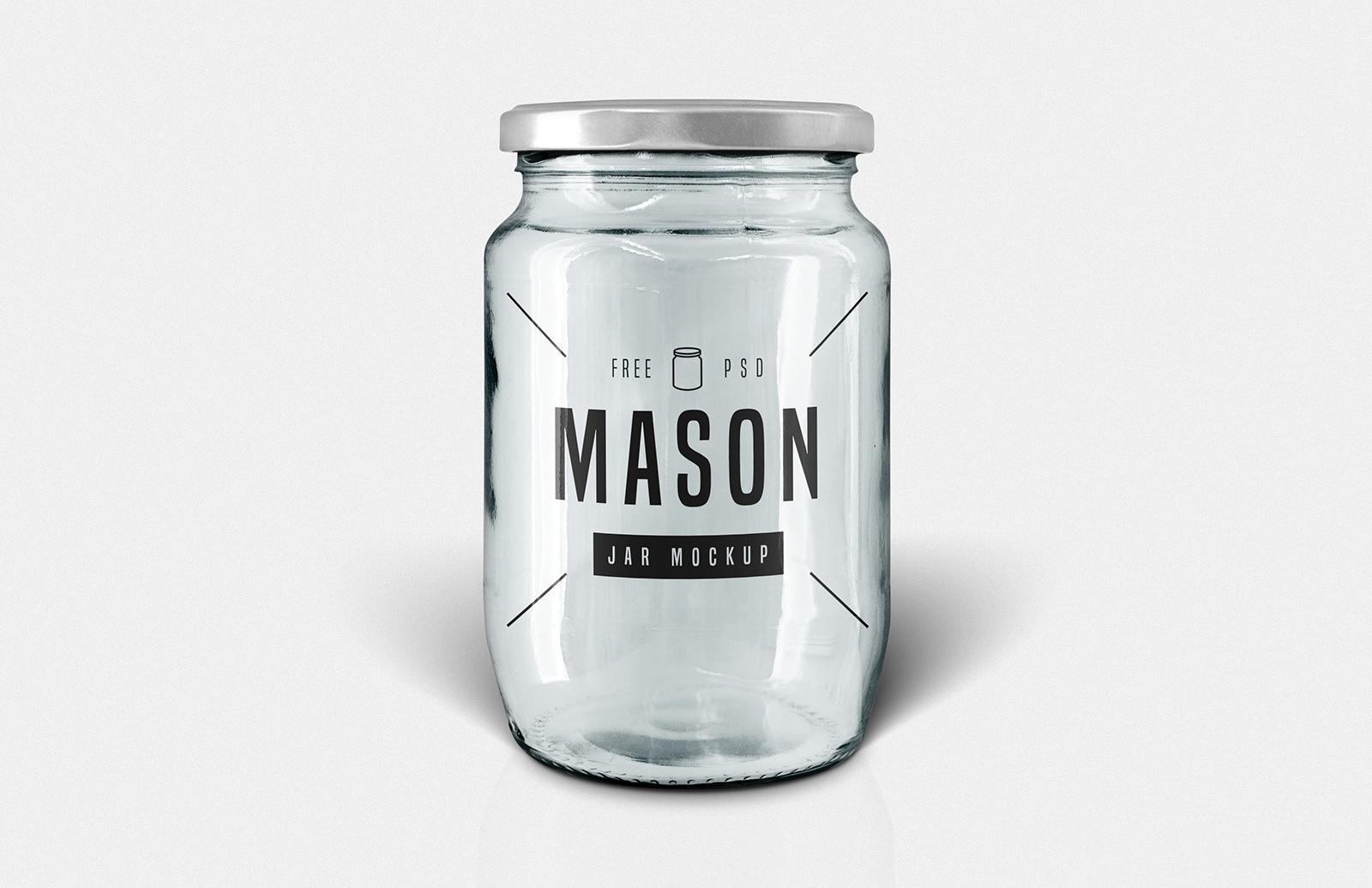 Free Glass Mason Jar Mockup