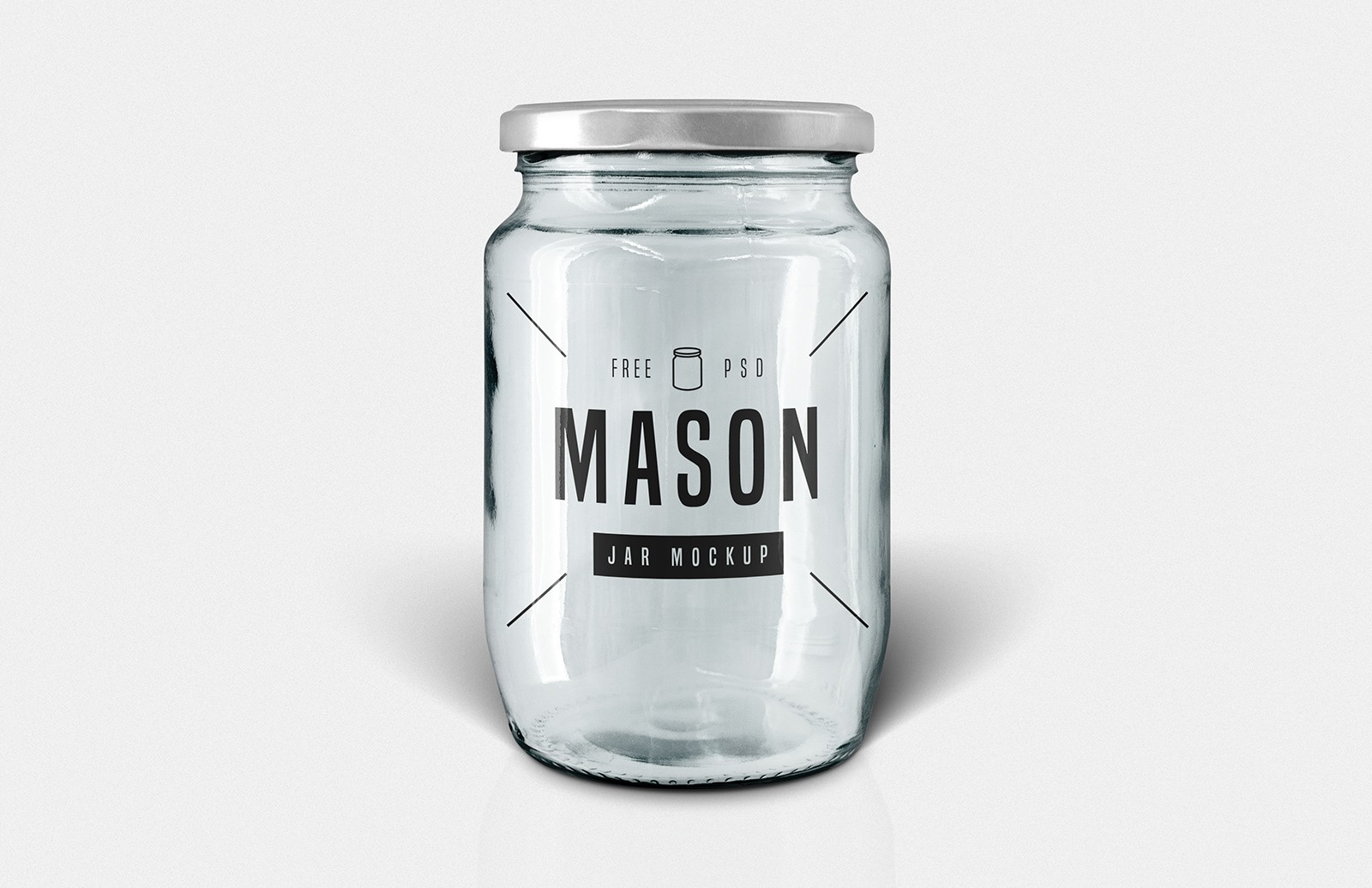 Free Glass Mason Jar Mockup