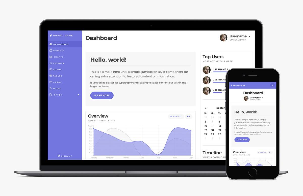 Medialoot Bootstrap 4 Dashboard Template Preview 1A