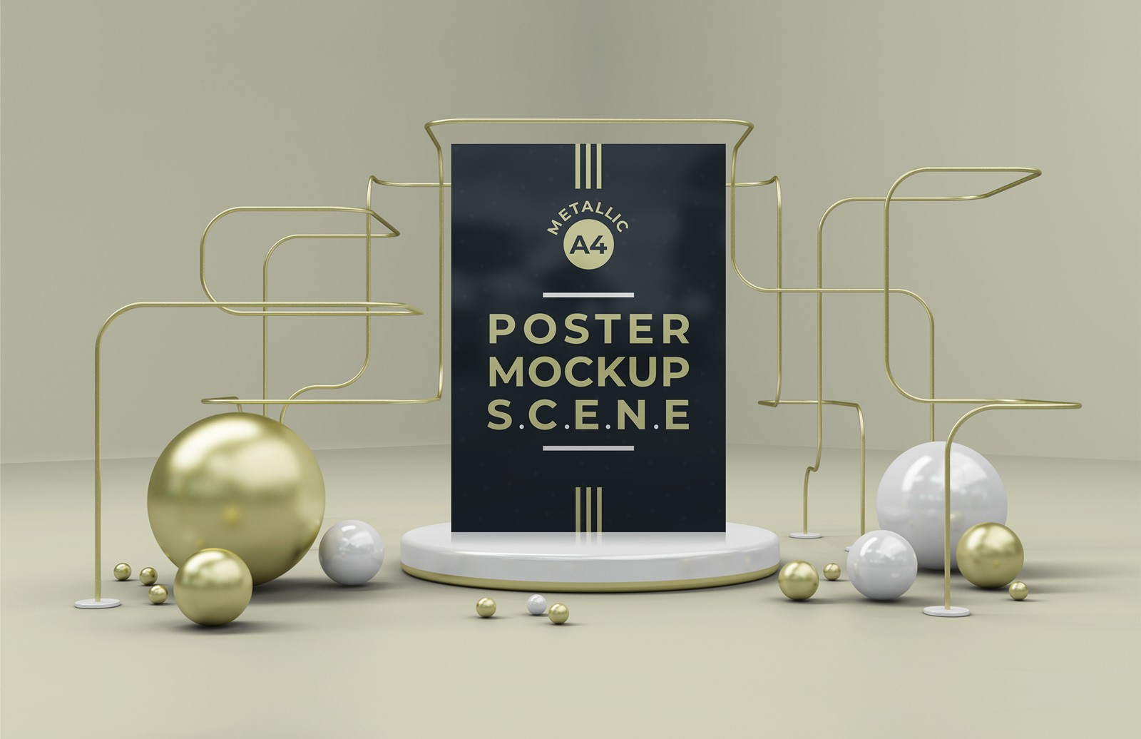 Metallic A4 Poster Mockup Scene Preview 1