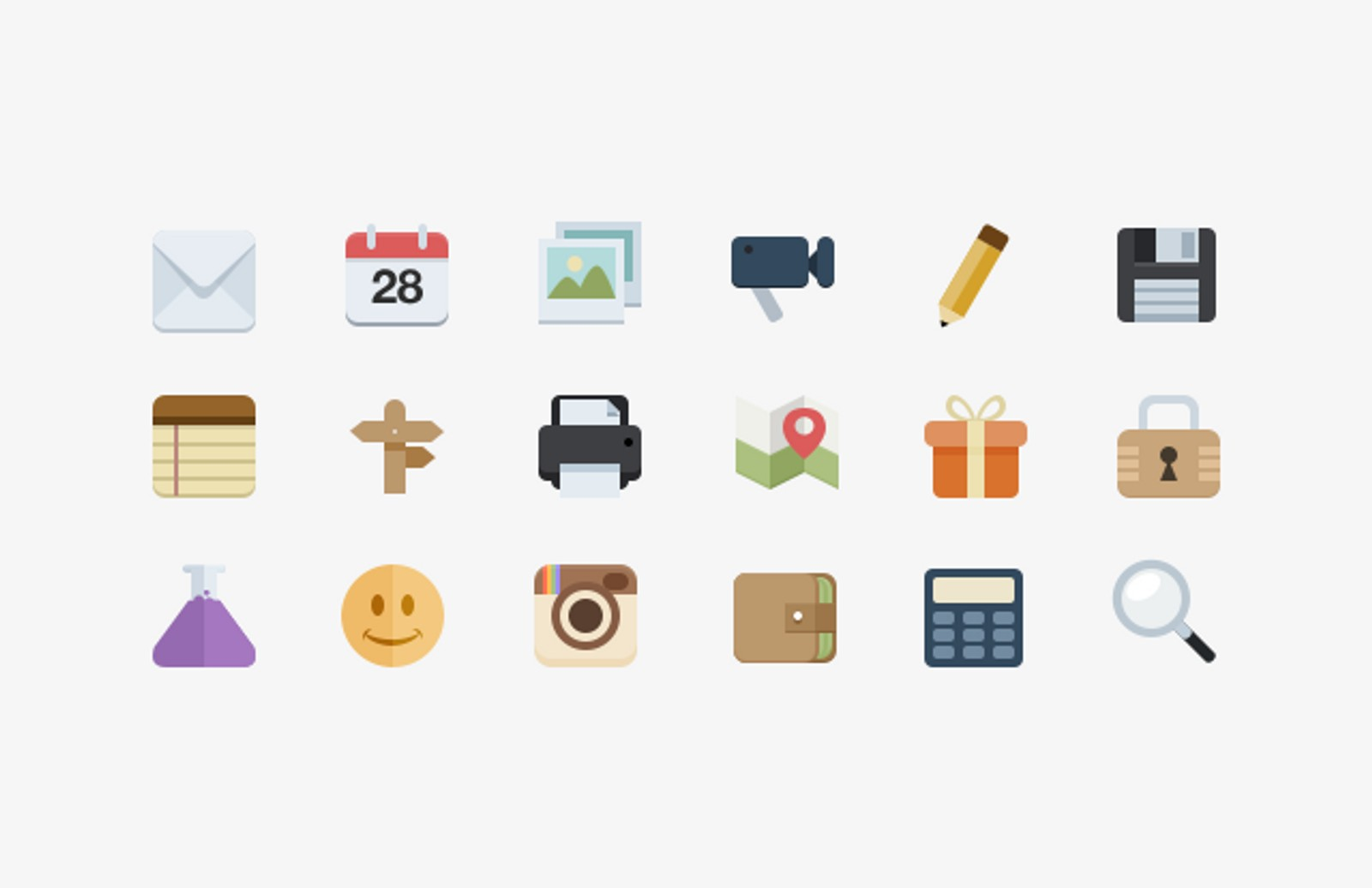 Mini  Flat  Style  Icons 2  Preview1A