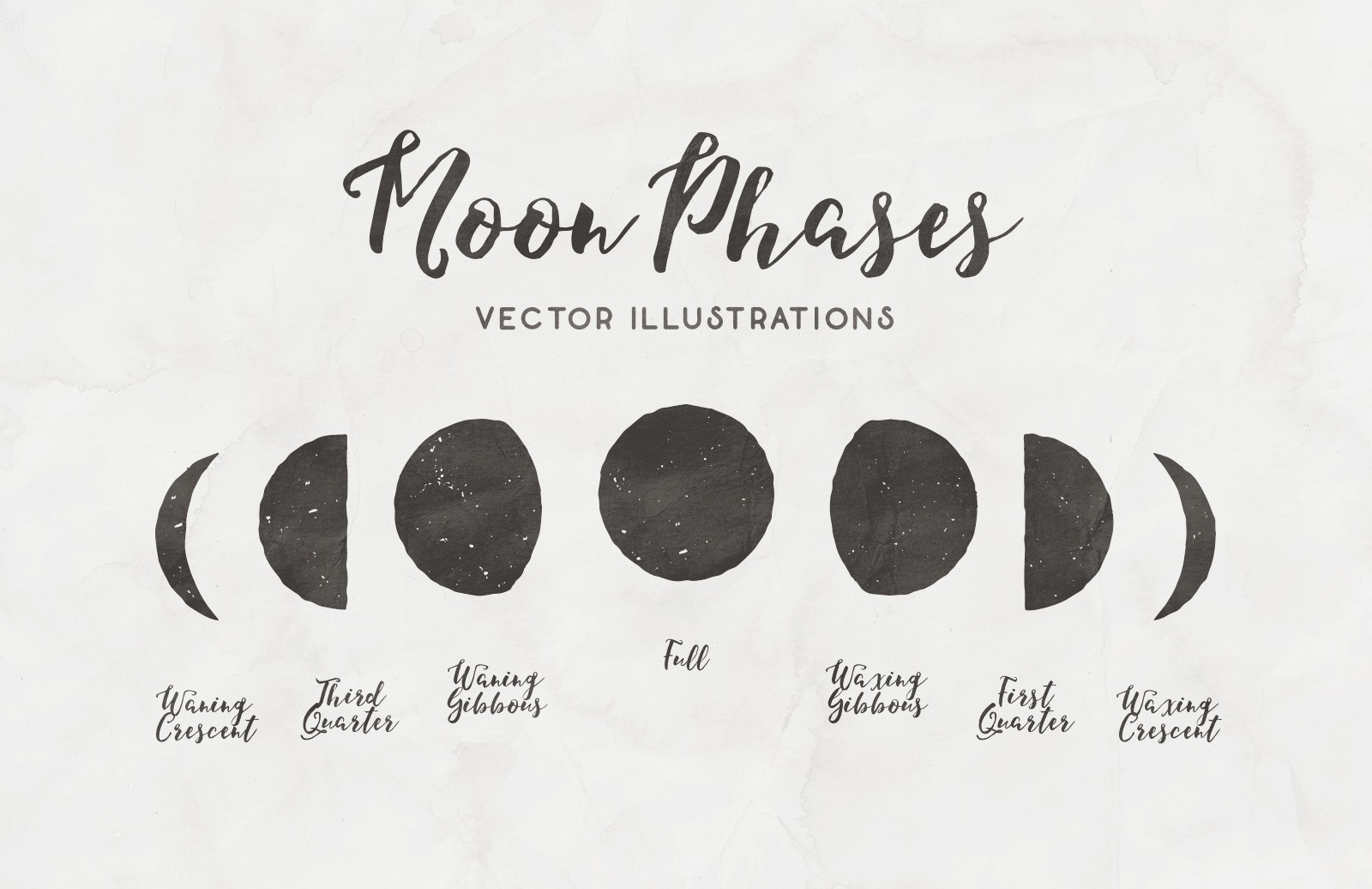 Moon Phases Vector Illustrations Preview 1A