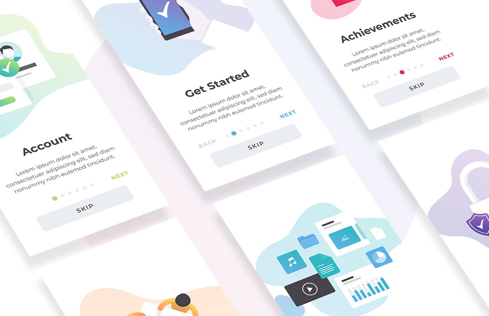 Mobile App Onboarding UI Screens