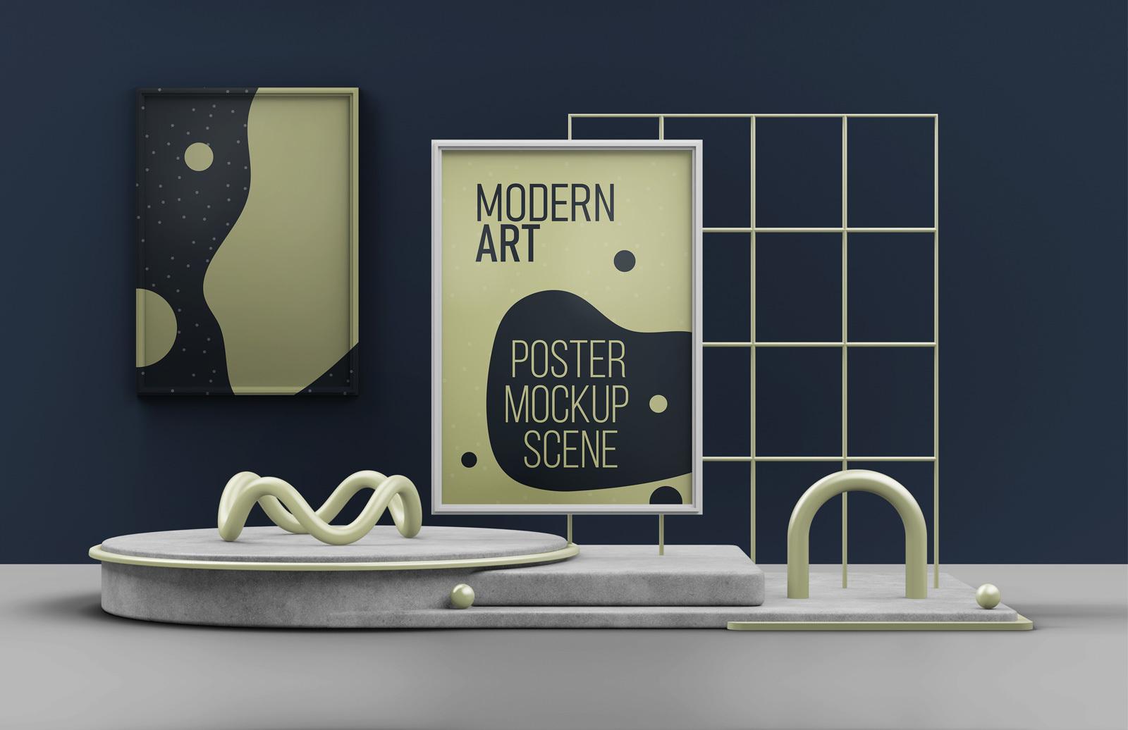 Modern Art Poster Mockup Scene Preview 1