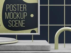 Modern Art Poster Mockup Scene 2