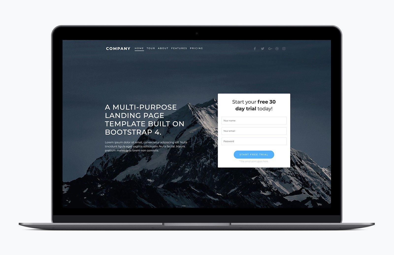 Multipurpose Landing Page Bootstrap Template Preview 1A