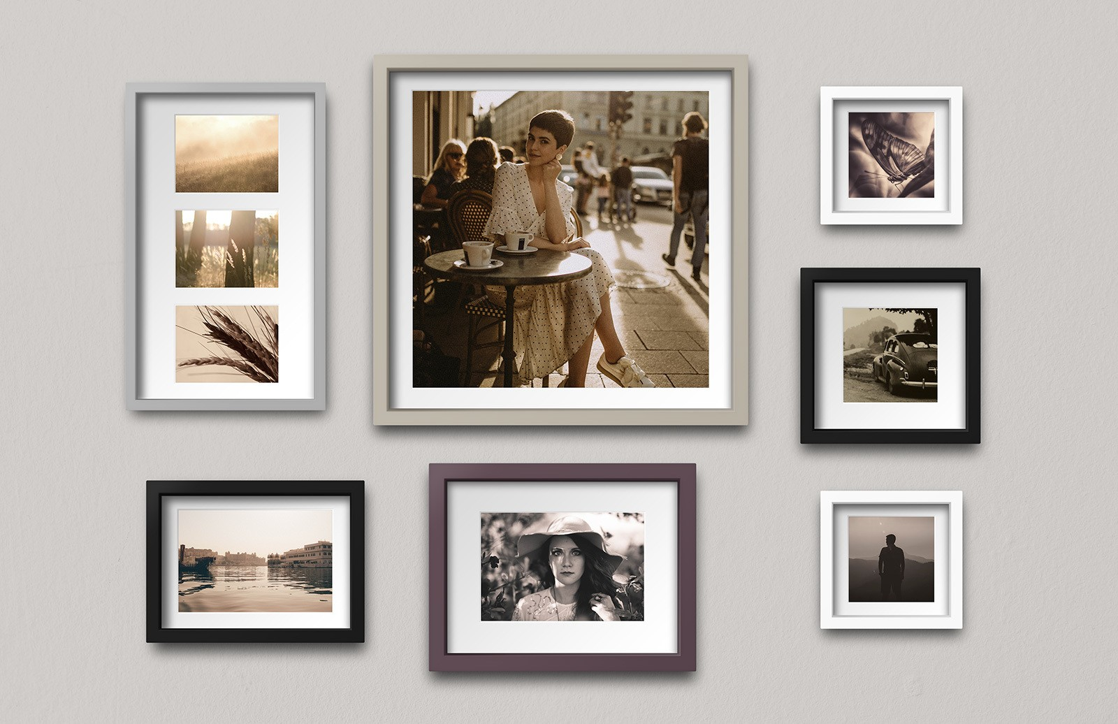 Multiple Photo Frames Arrangement Mockup Preview 1A