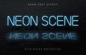 Neon Text Effect Scene Mockup