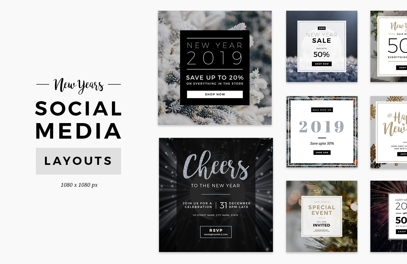 New Years Social Media Layout Preview 1