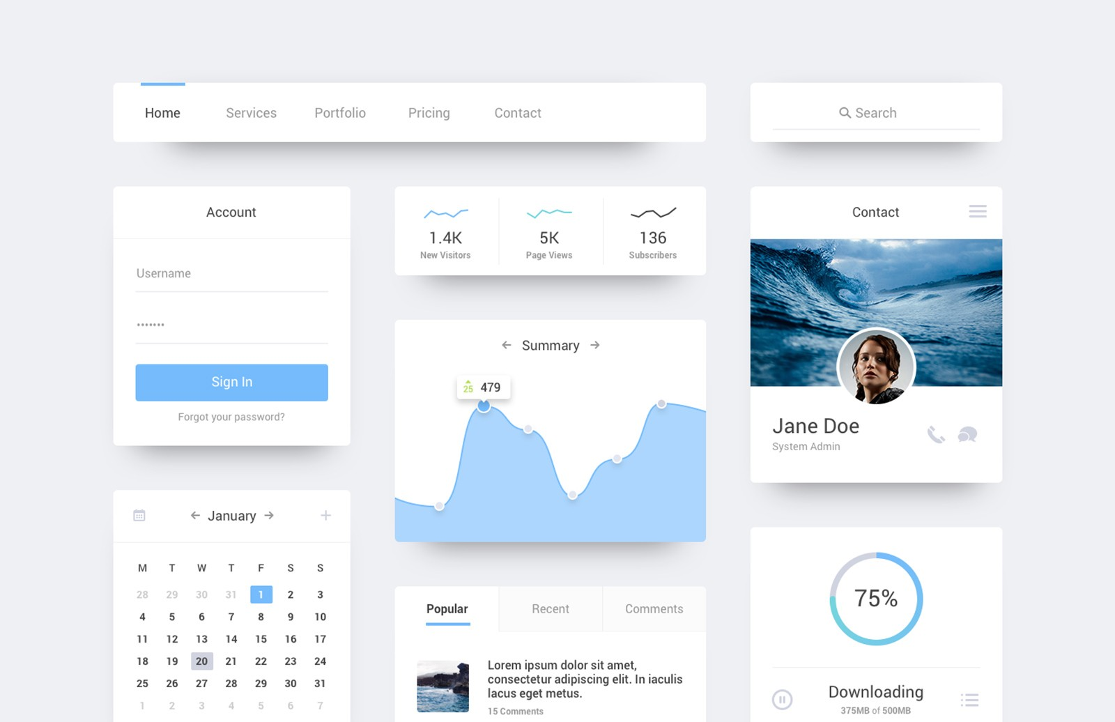 Ocean    Flat  Ui  Kit  Preview 1A