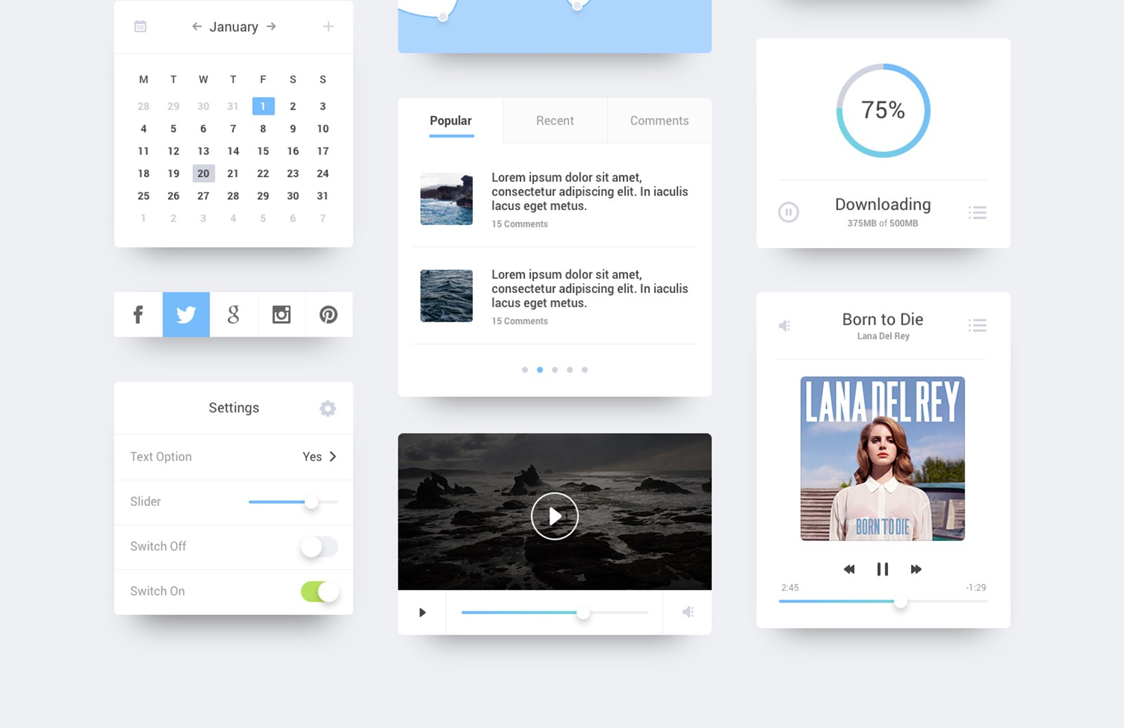 Ocean    Flat  Ui  Kit  Preview 2A