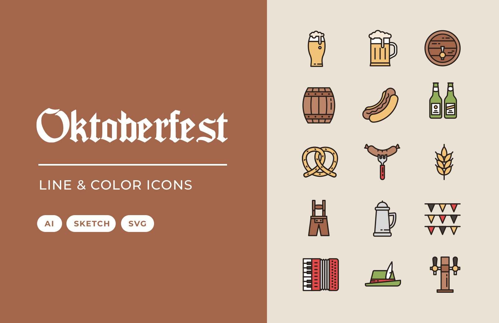 Oktoberfest Line Color Icons Preview 1