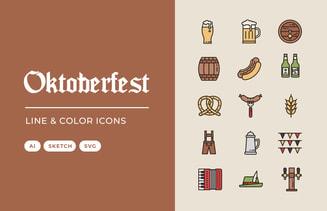 Oktoberfest Line & Color Icons