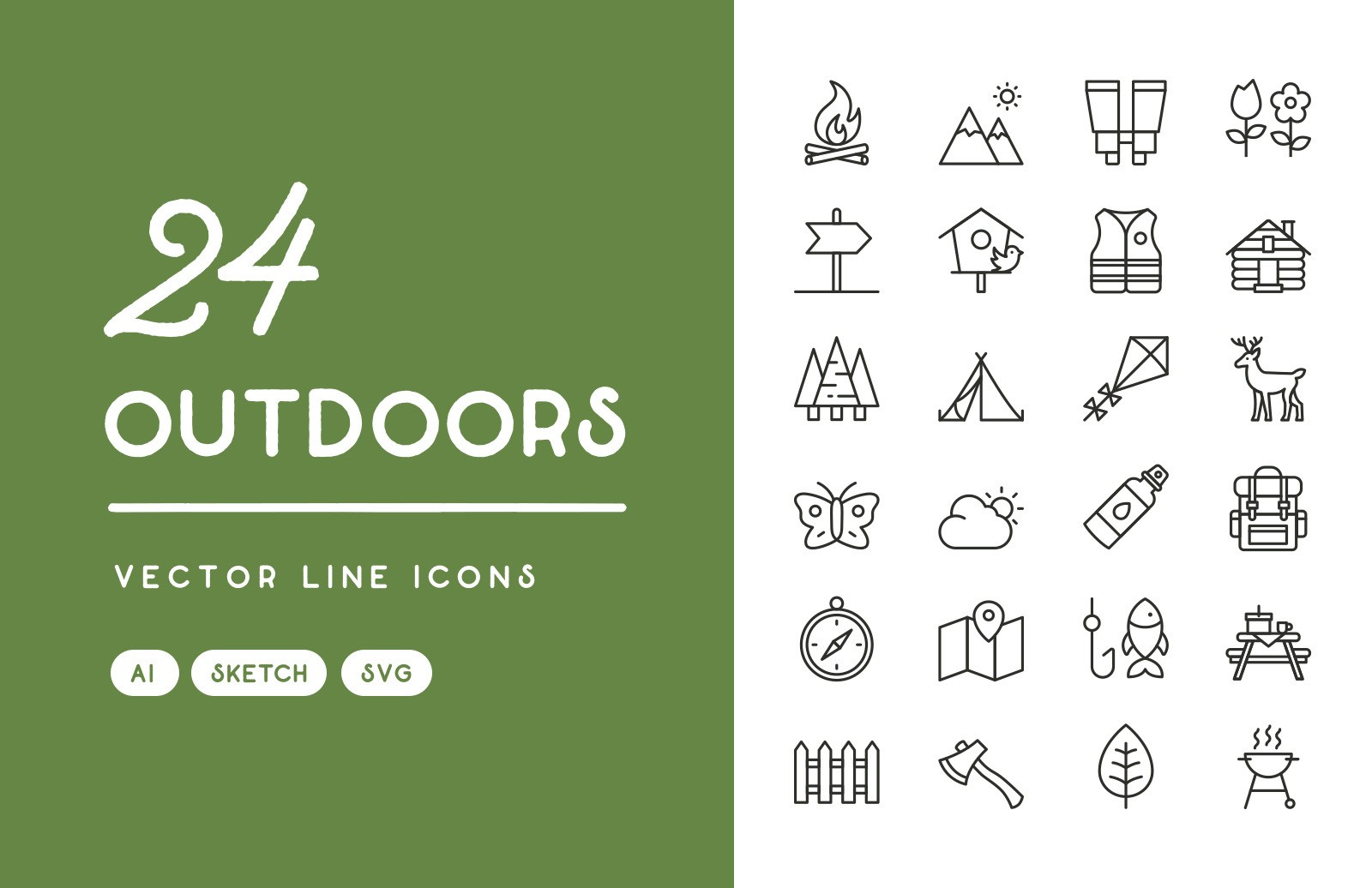 Outdoors Vector Line Icons Preview 1