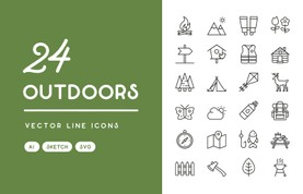 Outdoors Vector Line Icons