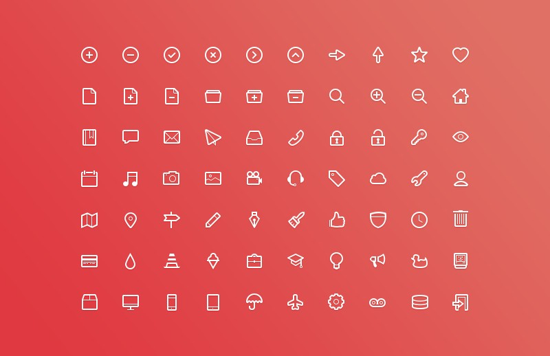 Vector Outlined Glyph Icons