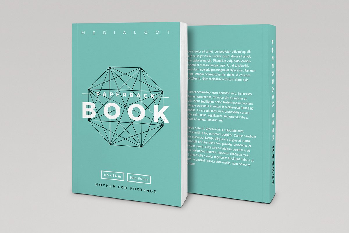 Book Cover Paper Design : Paperback book cover mockup — medialoot