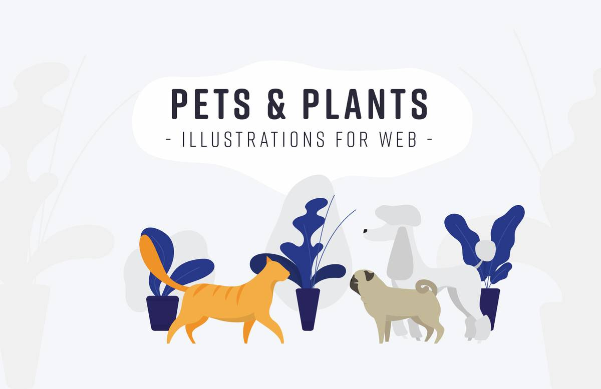 Pets And Plants Illustrations For Web Preview 1