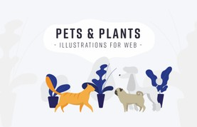 Pets & Plants: Illustrations for Web