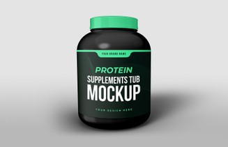 Free Protein Supplements Tub Mockup