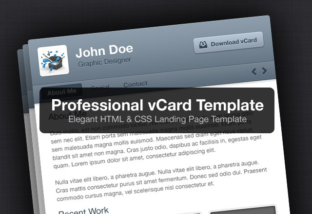 Professional vCard HTML Template