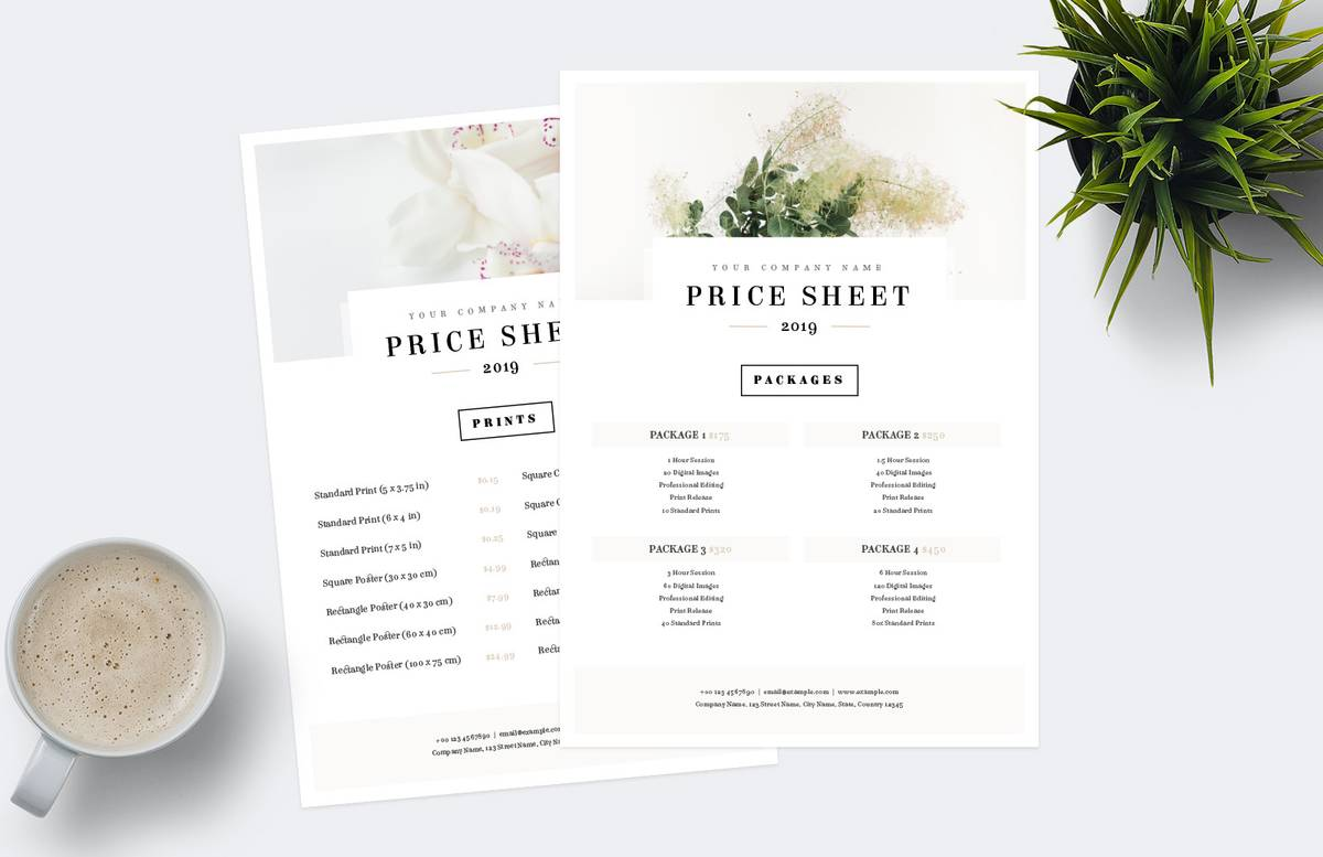 Price Sheet Template Preview 1B
