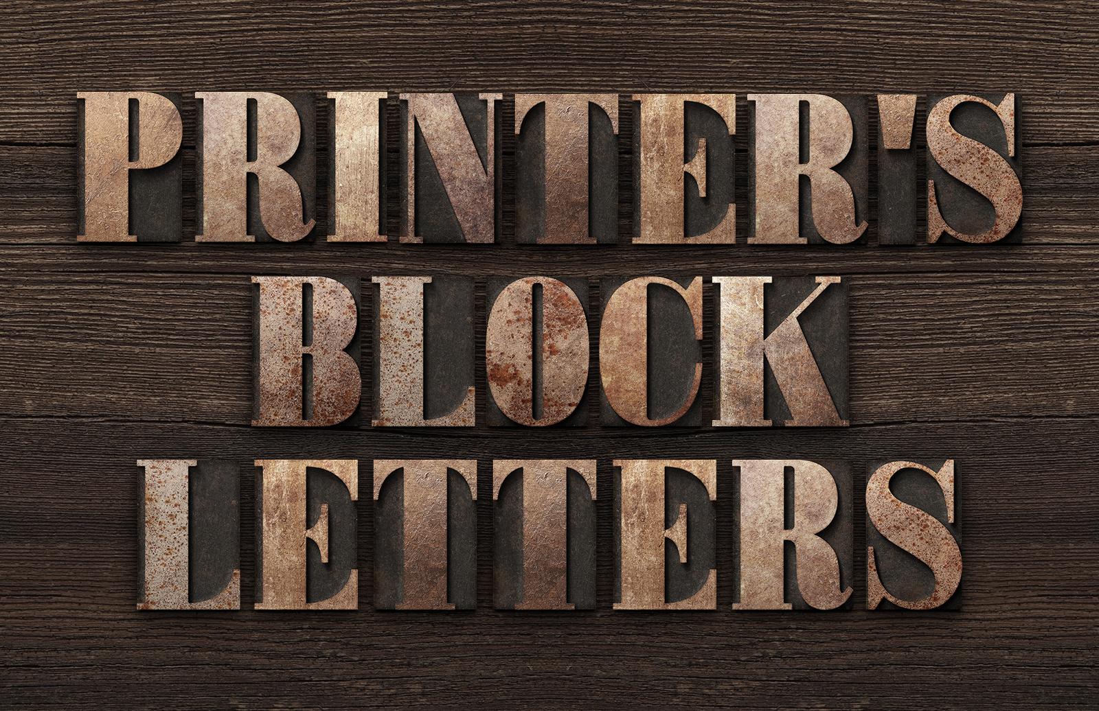 Printers Letterpress Block Letters Preview 1