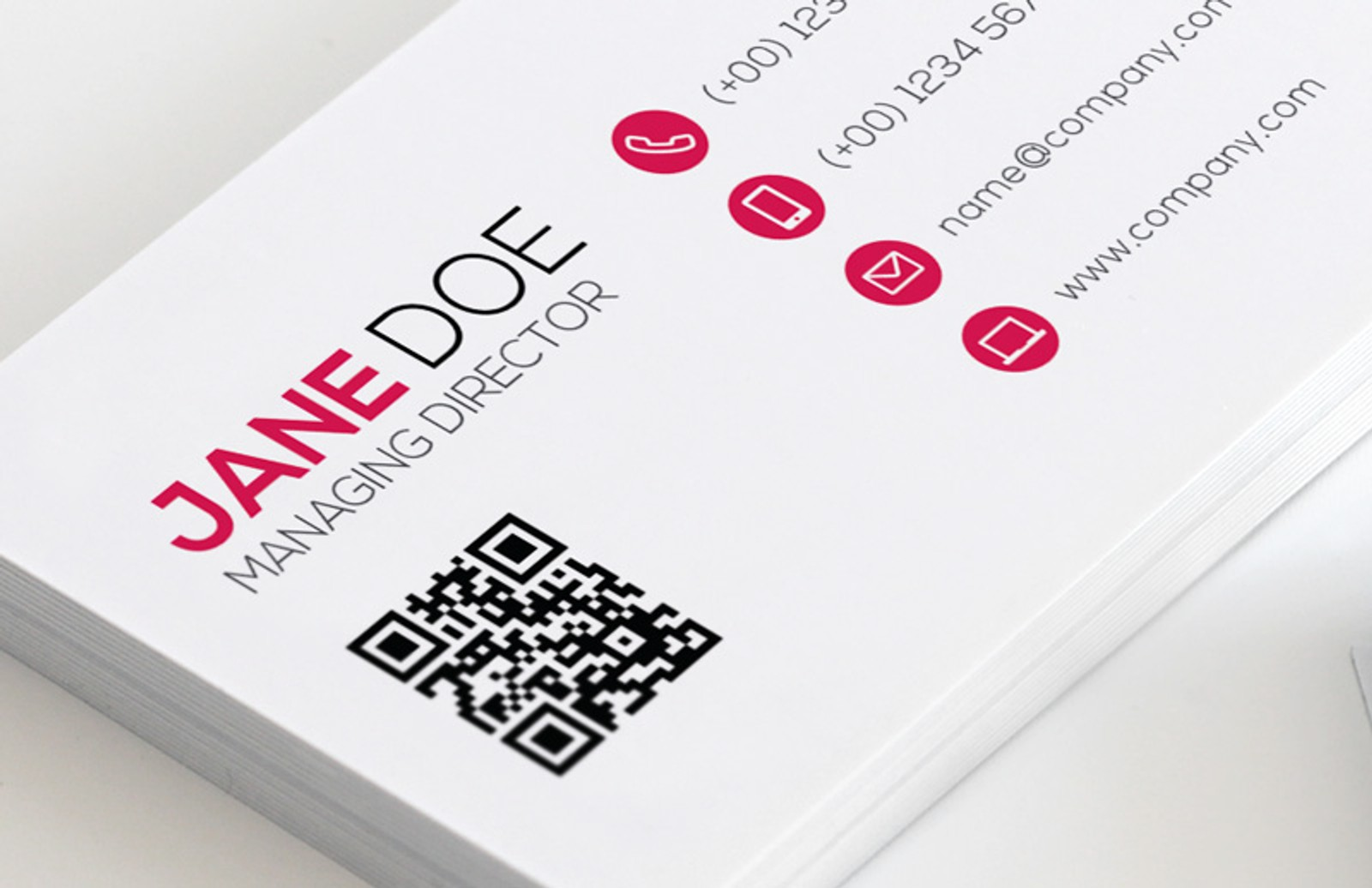 Qr Code Business Card Template Vol 2 on flat preview