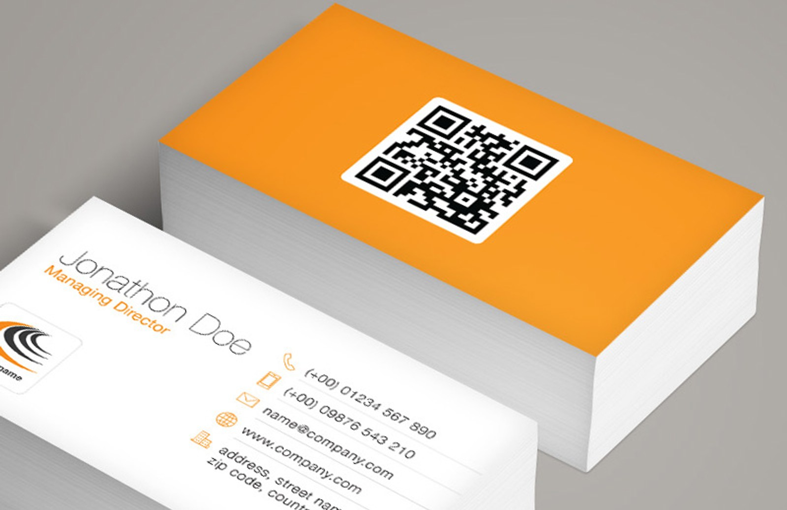 QR Code Business Card Template — Medialoot