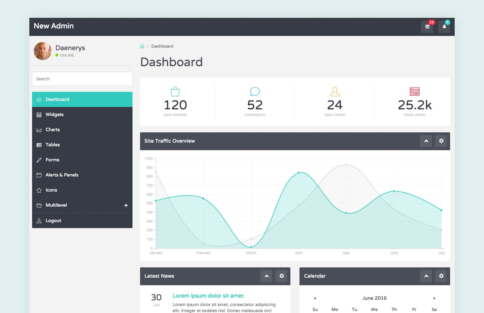 Quay  Bootstrap  Admin  Template  Preview 2
