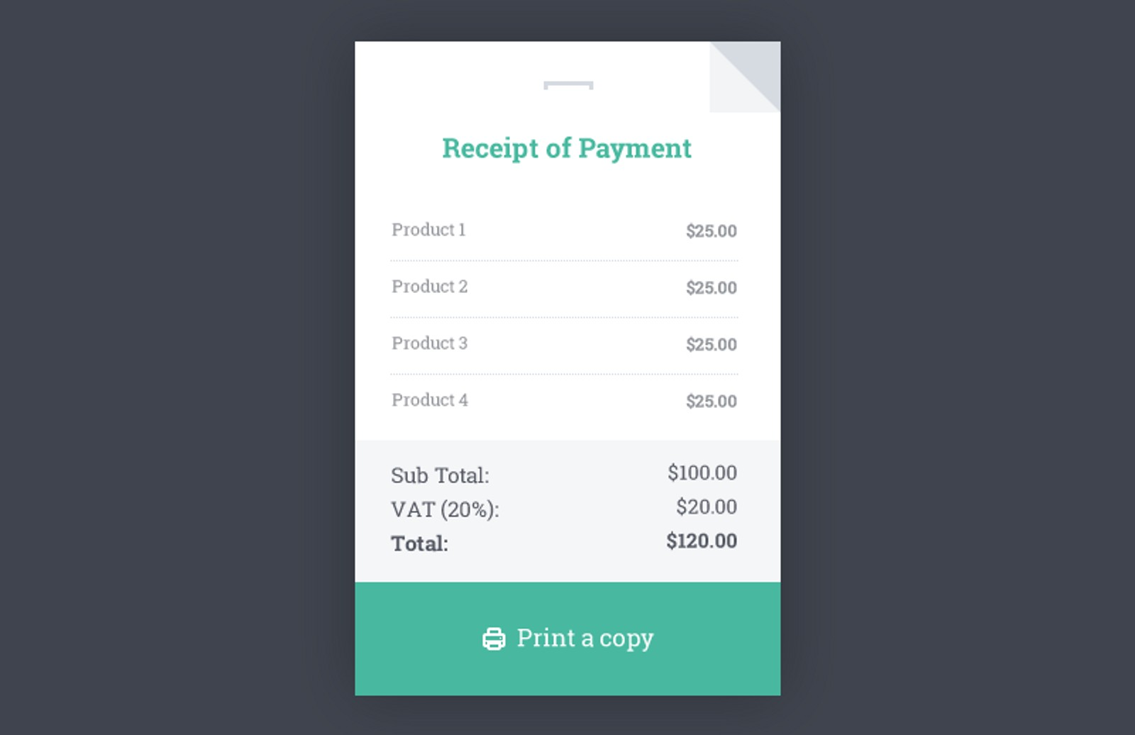 Receipt html template medialoot for E receipt template