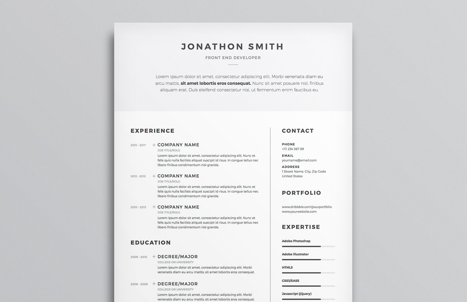 Resume Cv Template Preview 1A