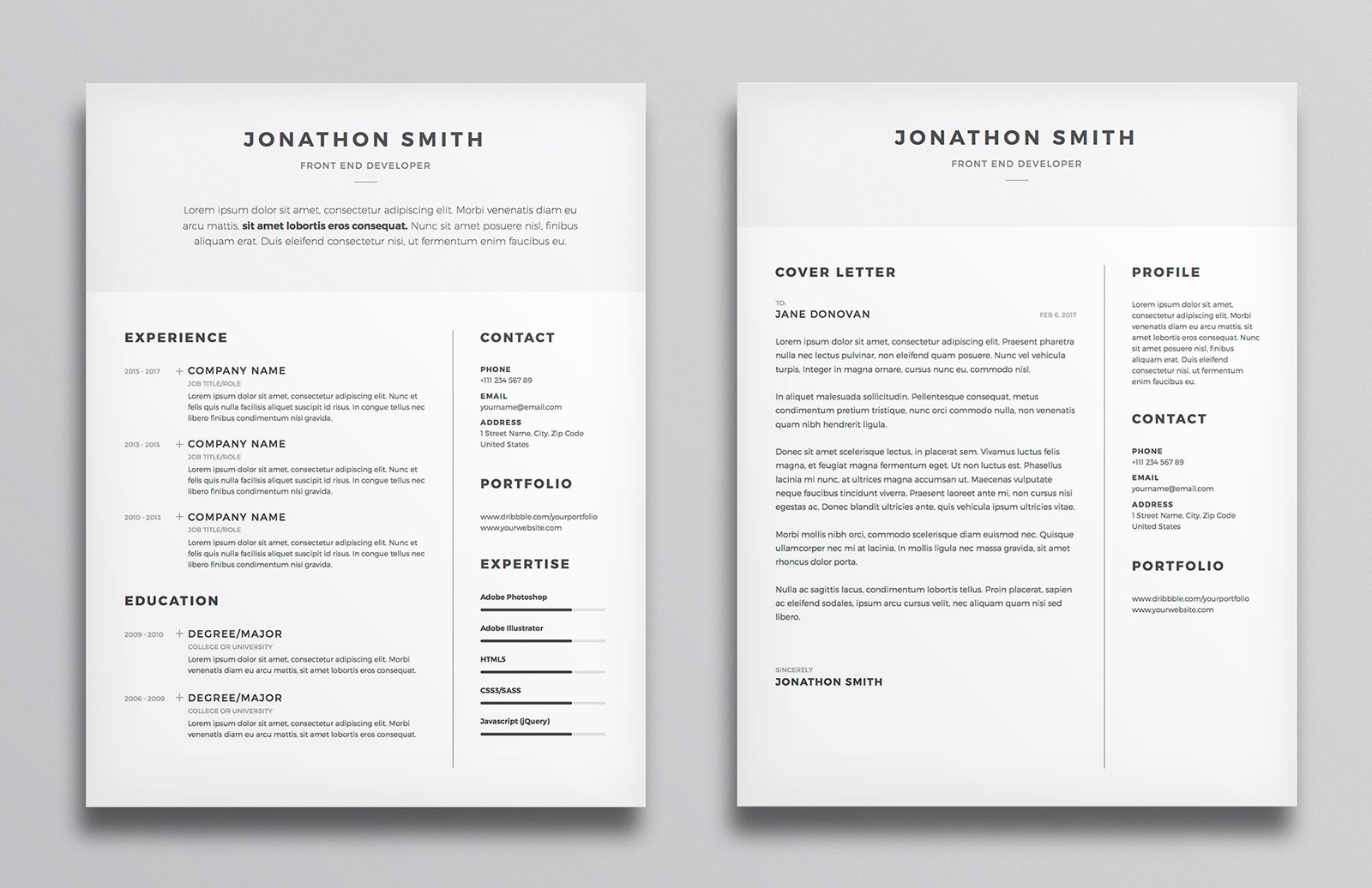large resume cv template preview 2a