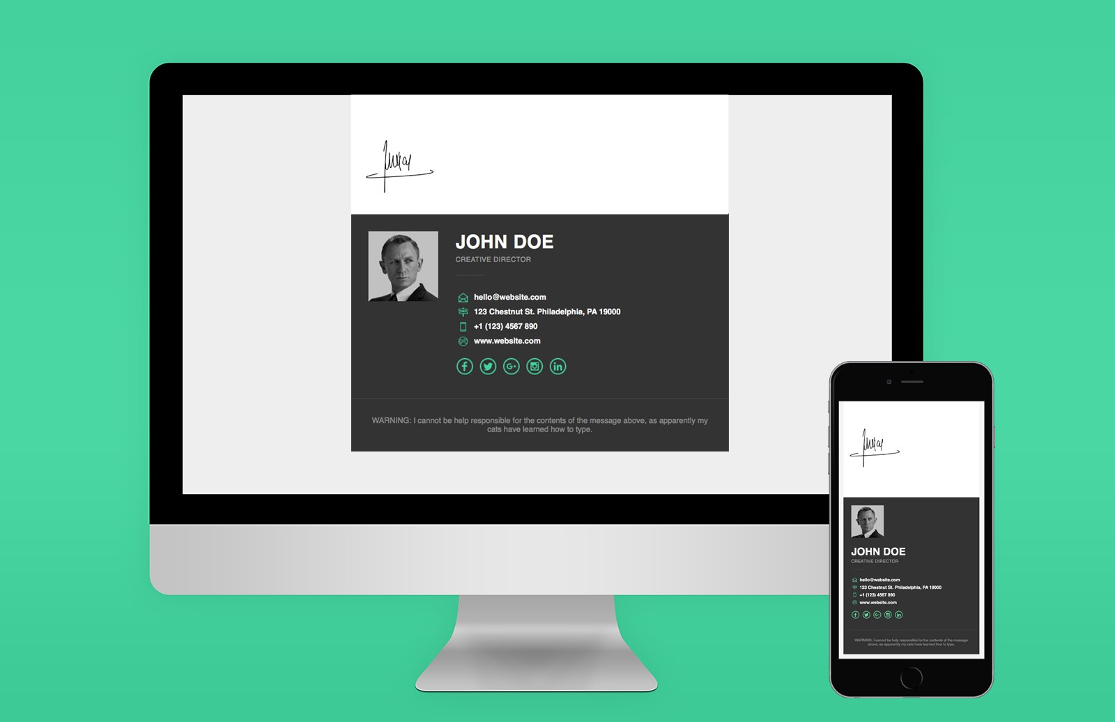 Responsive  Email  Signature  Template  Preview 1A