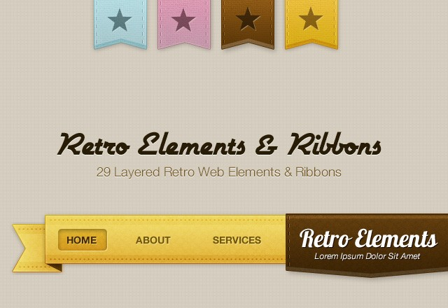 Retro UI Elements & Ribbons