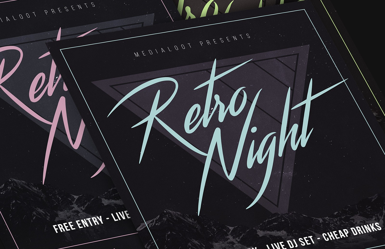 Retrowave 80S Party Flyer Preview 1