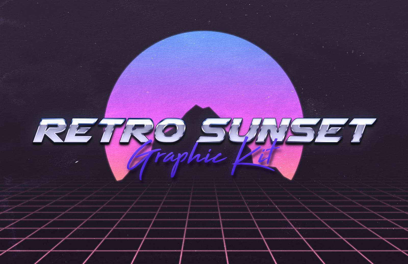 Retro 80s Sunset Graphic Kit