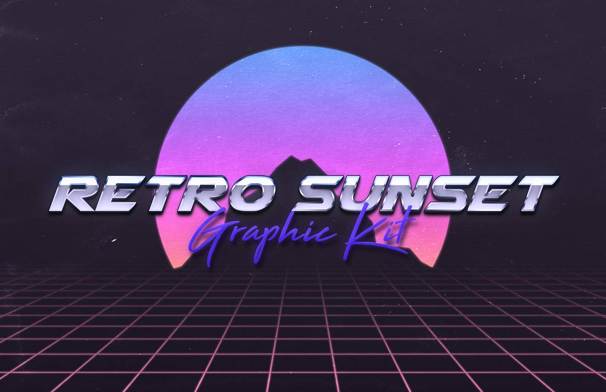 Retro 80S Sunset Graphic Kit Preview 2