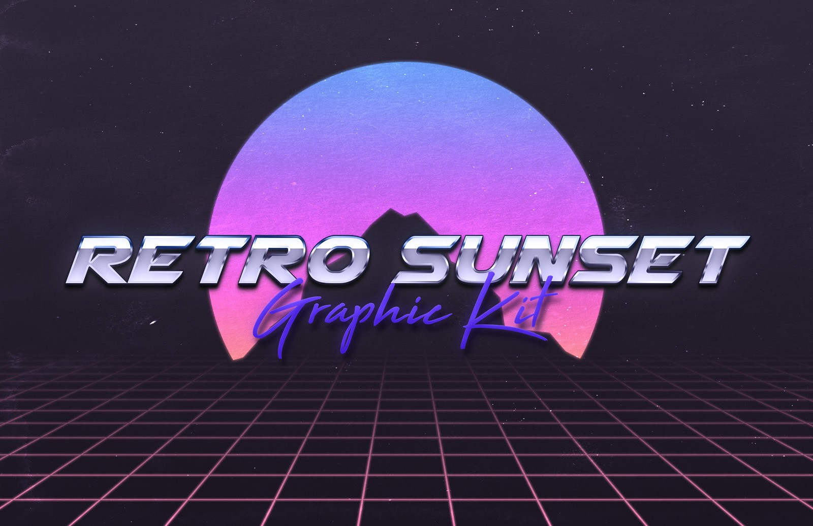 Retro 80s Sunset Graphic Kit