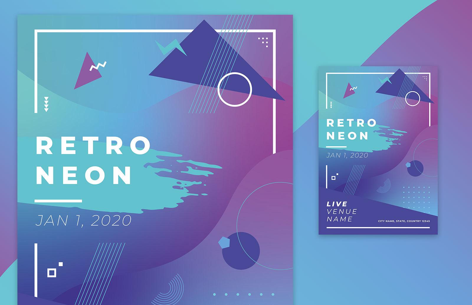 Retro Neon Poster Template Preview 1
