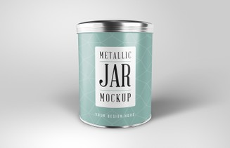 Round Metallic Jar Mockup