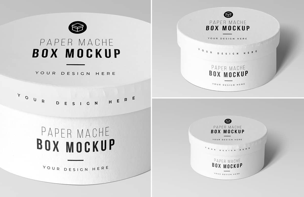 Round Paper Mache Craft Box Mockups Preview 1