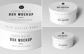 Round Paper Mache Boxes Mockup