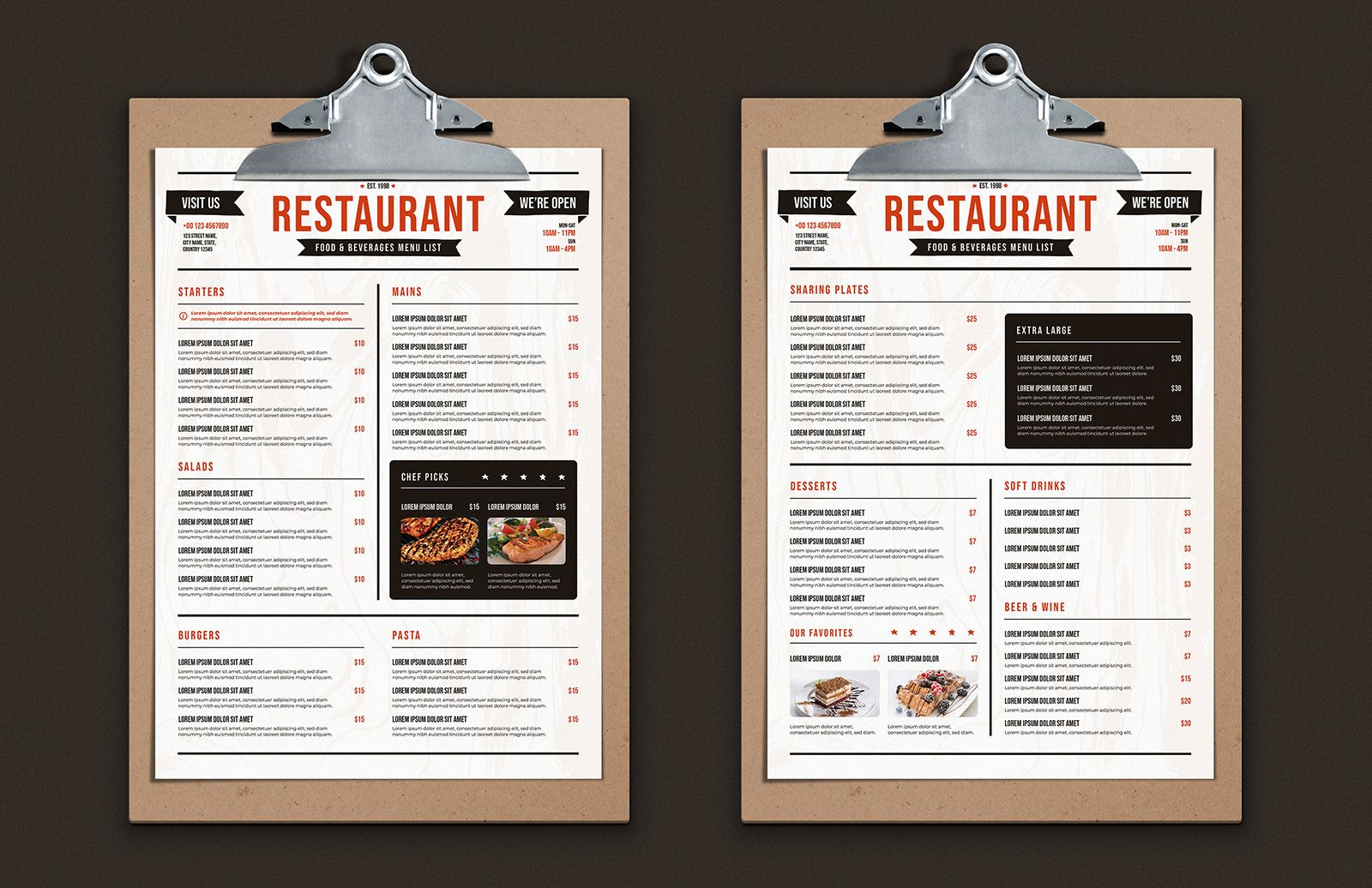 Rustic Restaurant Menu Template Preview 1