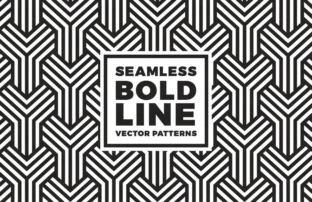 Seamless Bold Line Vector Patterns Preview 1