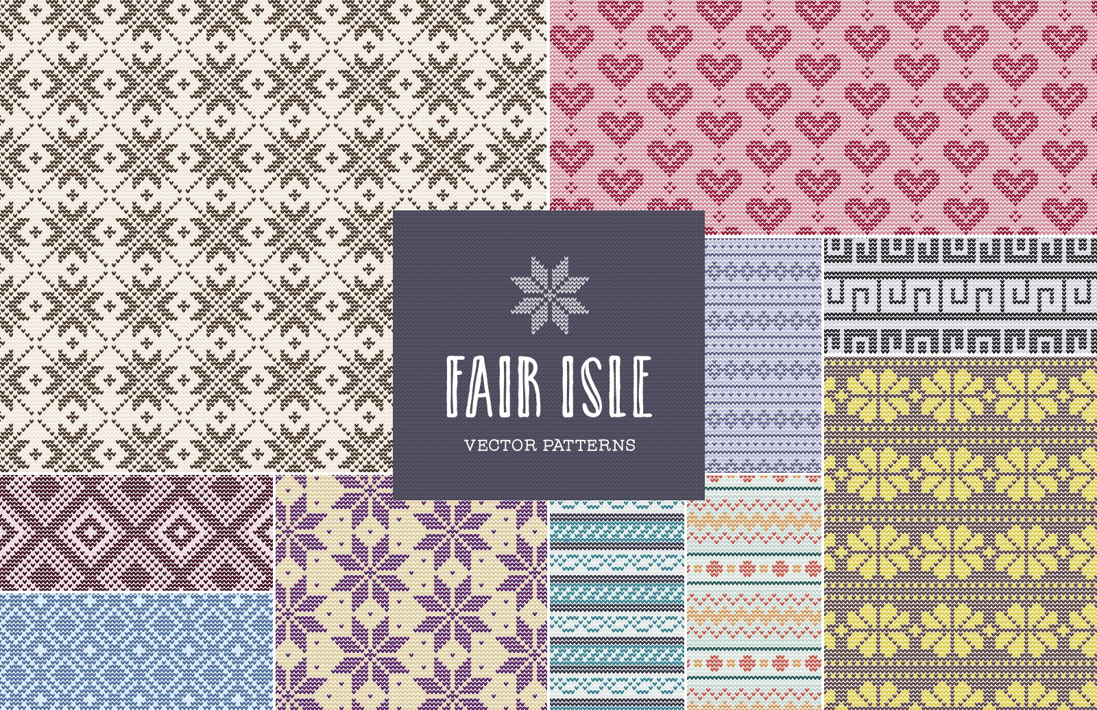 Seamless  Fair  Isle  Vector  Patterns  Preview 1