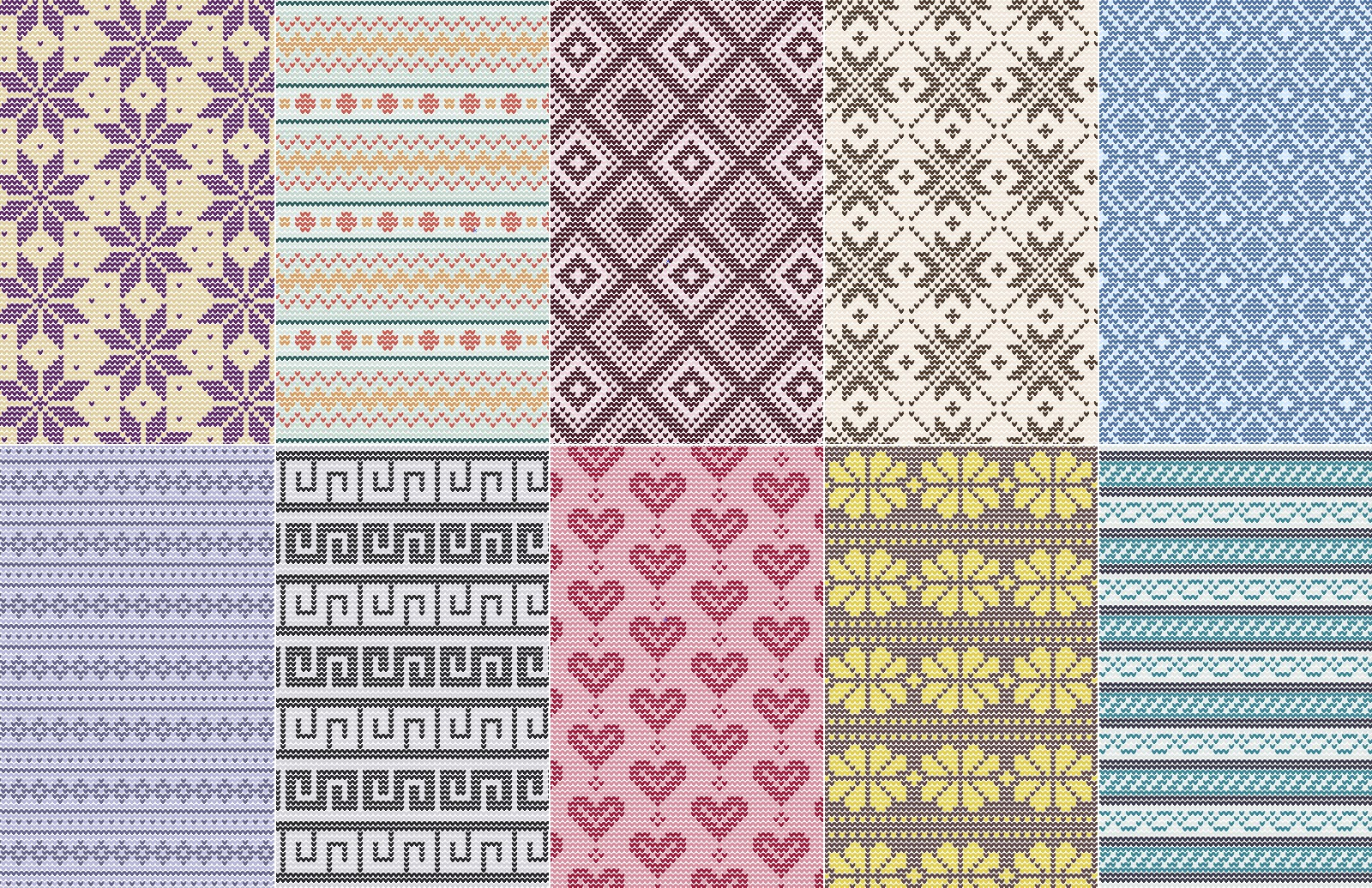 Seamless Fair Isle Vector Patterns 2
