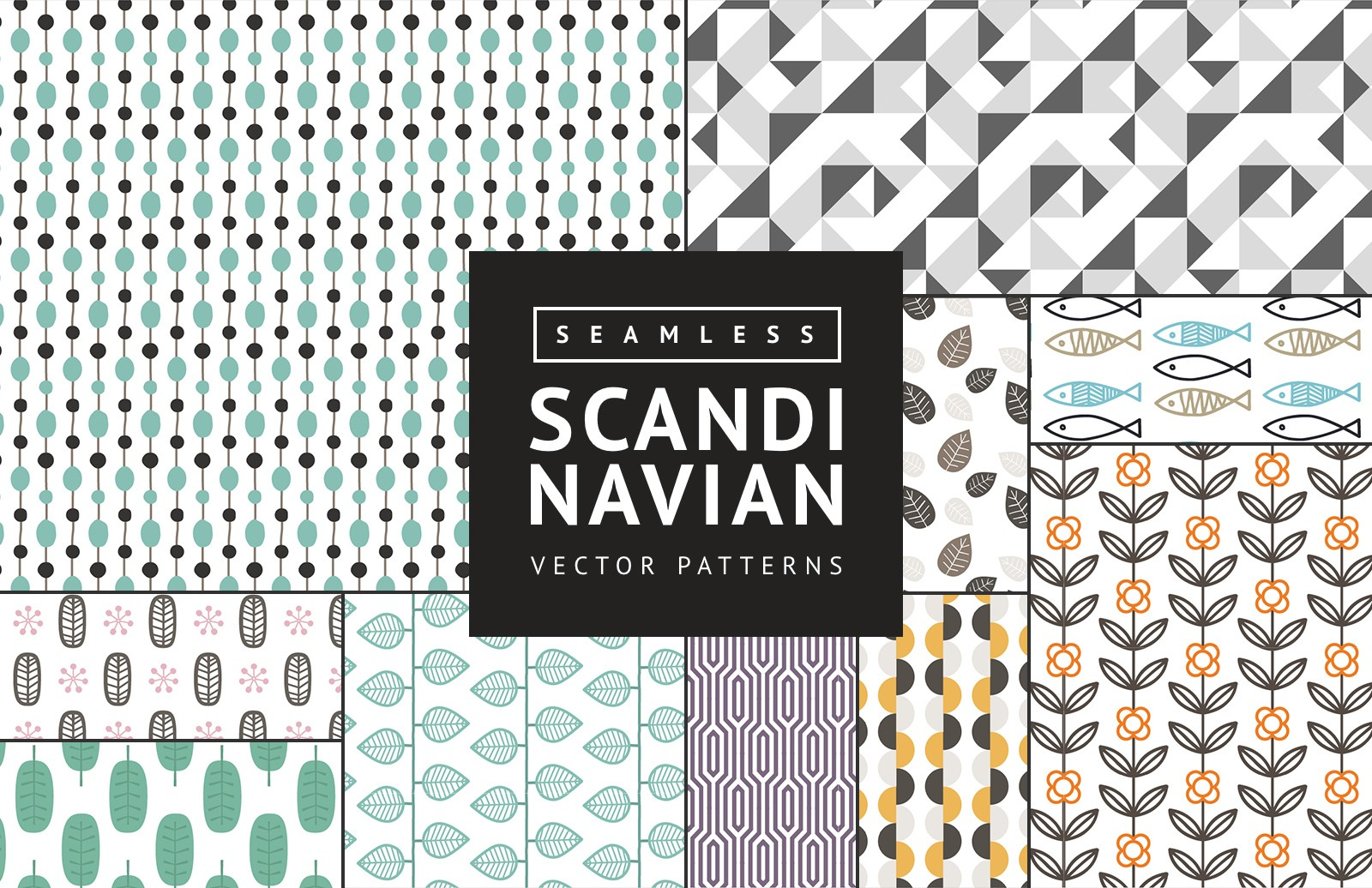 Seamless  Scandinavian  Vector  Patterns  Preview 1A